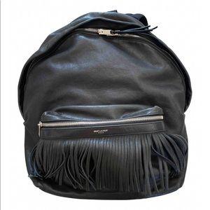 Saint Laurent City backpack blk leather fringe